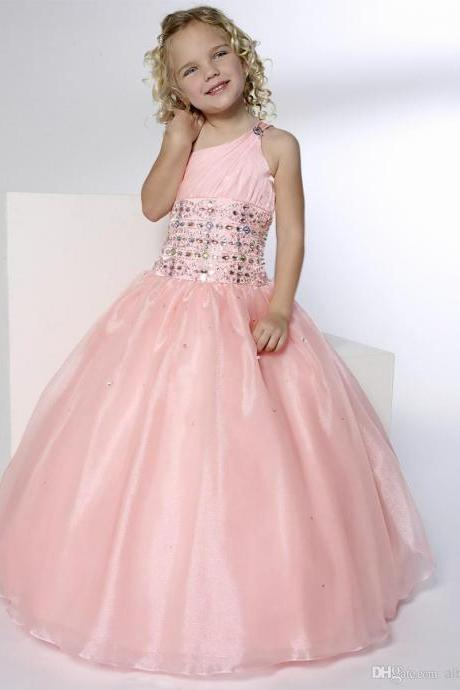 pink organza Pretty Beadings Girls Pageant Dresses Princess One-Shoulder Ball Gown Floor-Length Zipper Tulle Pink Flower Girls' Dresses