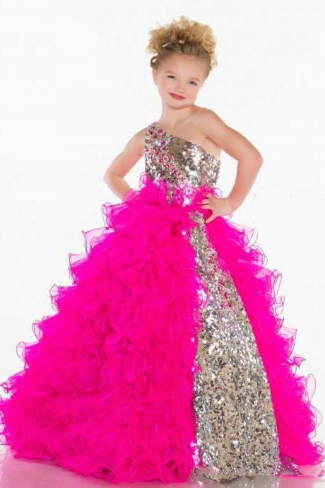 Cute Lovely Sequins Crystal Ruffles A Line Tulle Girl's Pageant /Flower Girl Dresses With One Shoulder Neckline