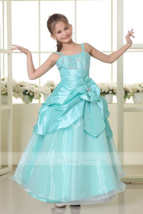 2015 New Princess Flower Girl Dresses Appliques Ball Gown Tiered Chiffon and Organza Tiered Girl Dress for Wedding Party Gowns W07
