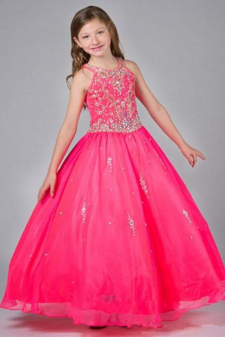 Blue / Green / Rose Girls Pageant Dresses 2015 Ball Gown Shiny Beaded Crystal Top Cheap Price Crew Collar Organza Floor Length Formal Children Dress Event W09