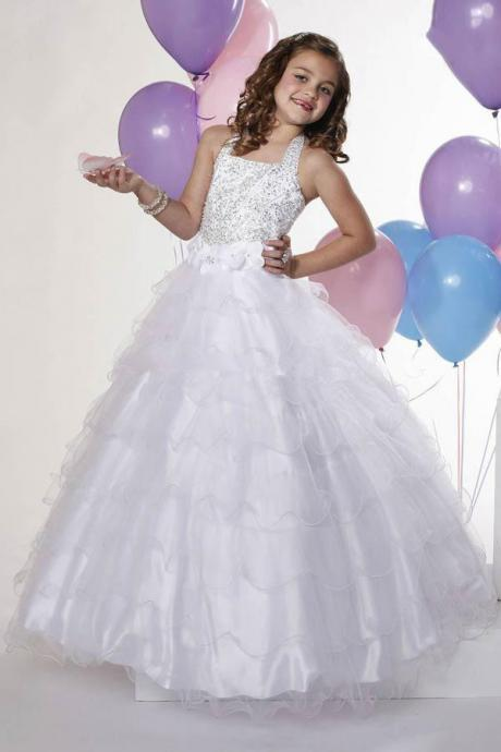 2016 Fashion Little Girl Pageant Dresses White Halter Crystals Layered Organza Wedding Party Long Ball Gown Cupcake Dresses Pageant w10