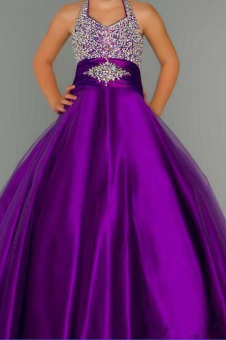 2016 New Halter Purple A Line Tulle Pageant Dresses Beaded Rhinestones Top Princess Ruffles Flower Girl Gowns W11