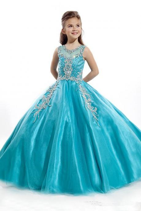 Showy Ball Gown Flower Girls' Dresses Bateau Neck Blue Organza Sleeveless with Beads Sequins Beauty Zipper Girl's Pageant Dresses W16