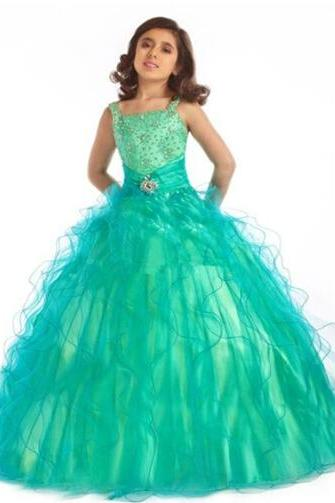 Square neck Waterfall Sweep Train Ball Gown Princess Dresses Beaded Girl's Formal Occasion Dresses W17