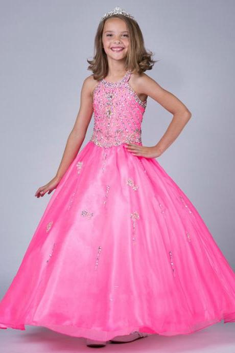 Pageant Girl Dresses Pink Halter Jewel Crystal Little Rosie Tulle Ball Gown Dress Flower Children Kids Drsses Party Formal Dresses W19