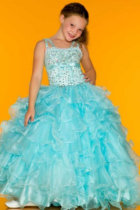 2016 new sky blue / pink Hot Sale Spaghetti Sparkle Full Crystal Beaded Tiered Organza Girls Pageant Dresses Pageant Girl Dresses