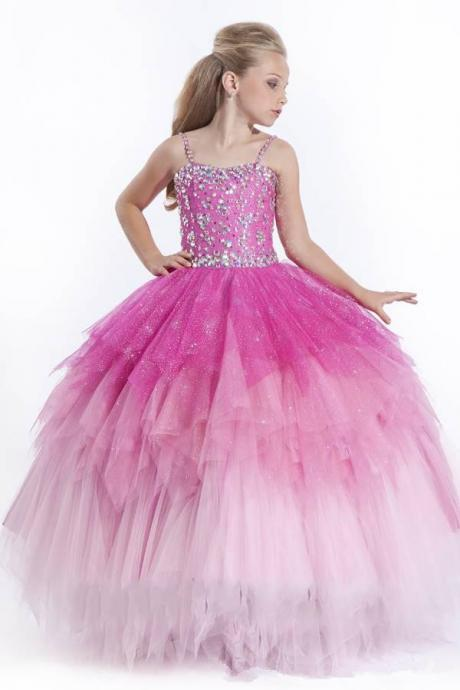 Girl's Pageant Dresses 2014 Spaghetti Pink Sky BlueTulle Ball Gown Flower Girl Gowns Sequins Beads Tiers Rhinestones Dress Floor-Length