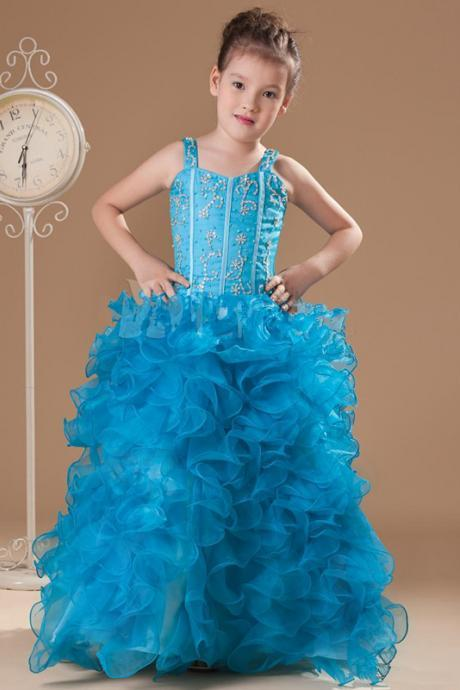 2016 New Arrivals Blue Straps Neck Floor-Length Ruffles Ball Gown Girls Pageant Dress Made by Organza