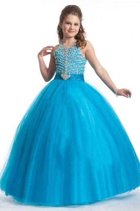 2016 New Style Exquisite Beaded Ball Gown Girls Pageant Dresses Custom Made Little Girls Dresses