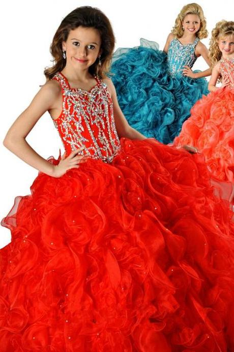 New beaded halter flower girl dress Pageant dress Party prom Girl's Pageant Dresses Custom sizes