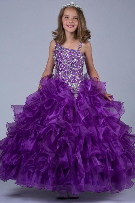 Shoulder beaded flower girl dresses Purple Sequins Ball Gown 2015 Long Little Girls Pageant Dresses Beads Kids Children Party Gowns W25