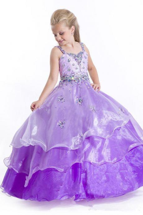 Light Purple Spaghetti Straps Ball Gown Girls' Formal Occasion Beading Crystal Sleeveless Sweep Trian Tiers Organza Zipper Pageant Gowns W26