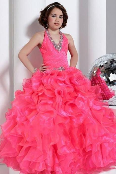 2016 New Beautiful Flower Girls' Dresses Ball Gown Halter Floor-Length Girl Gowns Appliques Beads Tiered Ruffles Rhinestone Kid Dress Chiffon