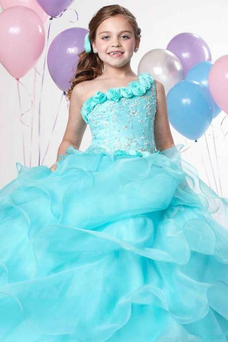 Custom Made 2016 Girl's Pageant Dresses Pretty One Shoulder Hand Made Flower Beading Organza Ball Gowns Girl's Gowns W30