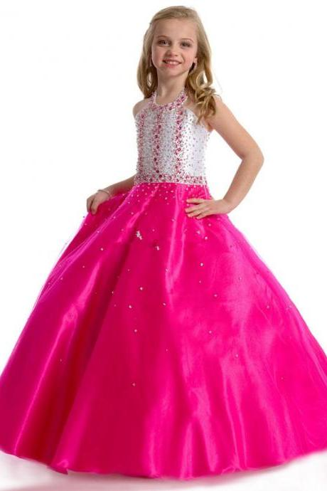 Sparkle Beading Hlater Ball Gown Two-Color Girls Pageant Dresses 2016 Hot Style Little Girls Dresses