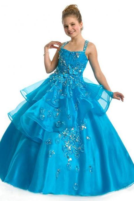 2015 NEW Cross Straps Blue Girls Pageant Dresses Square Ball Gown Beaded Organza Cute Flower Girls Dresses