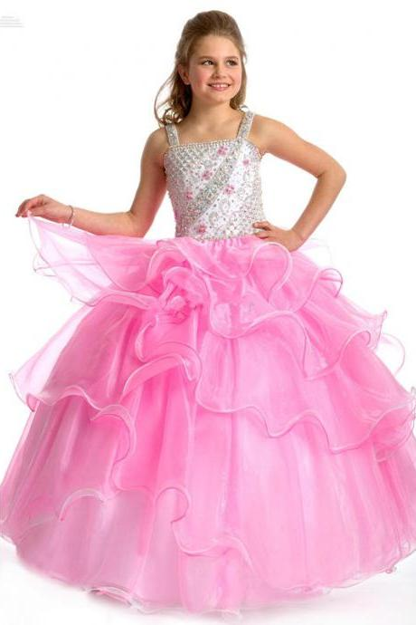 Gorgeous Square Sexy Backless Beading Girls Pageant Dresses Shiny White and Pink Girls Party Dresses