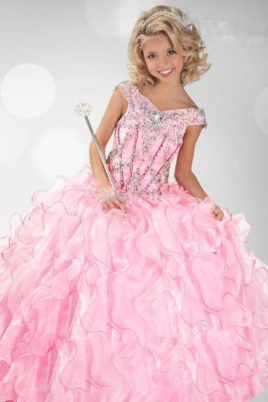 Pink Organza Girl's Pageant Dresses Off Shoulder Rhinestones Ruffles Girl Ball Gown