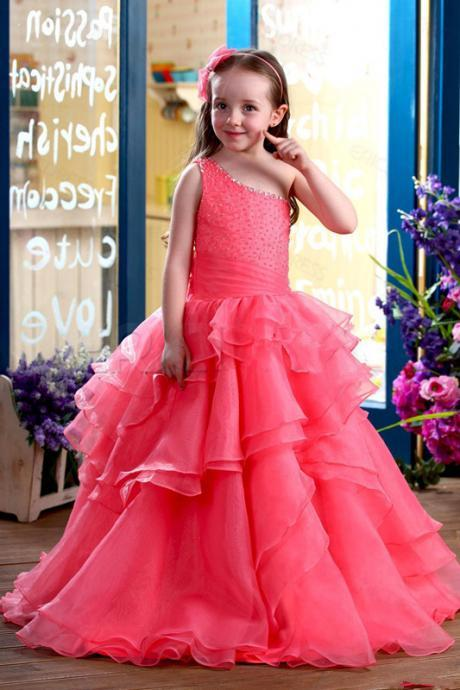 Lovely Angels 2016 New Arrival Iridescent Floor Length Beaded Girls Pageant Dresses Flower Girls Dress One-shoulder Girls Party Gowns