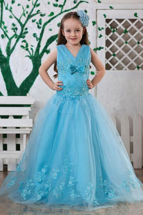 2016 Sky Blue Organza Beaded Embroidery Bodice Little Girl's Pageant Dresses A-Line Junior Princess Formal Glitz Flower Girl's Gowns
