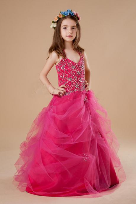 2016 Popular Fuchsia Halter Sweep Train Girls Pageant Dresses Shiny Beads Girls Pageant Gowns