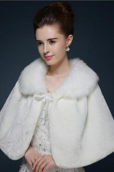 Faux Fur Wedding Bridal Exquisite Shawl Stoles Wraps Cape Ivory White Red
