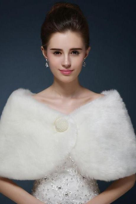 New Fashion Women Soft Elegant Faux Fur Cape Wedding Bridal Wrap Jacket Shawls Scarves