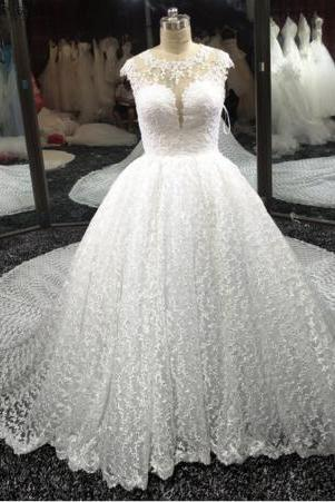 2016Off The Shoulder Long Sleeves Ball Gown Princess Real Wedding DresReal Picture Luxury Chapel Train Lace Ball Gown Wedding Dress Cap Sleeves Illusion Back Bridal Gowns