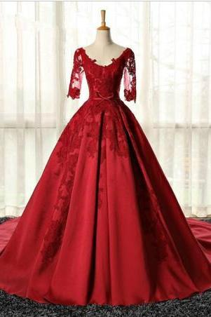 Burgundy long-sleeved dress the bride married toast wedding dress 2016 president of the new spring party dress