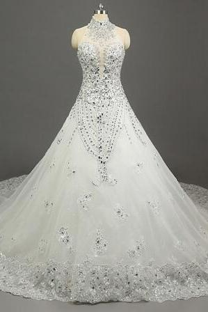 High Neck Sleeveless Beaded A-line Wedding Dress with Cathedral Train