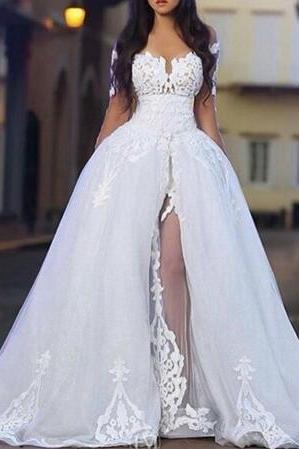 2016 Sweetheart Neck Arabic Middle East wedding dresses with Sheer Detachable Train robe de boda weding dress