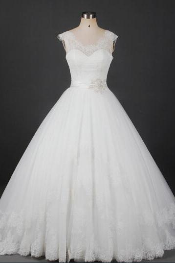 Ivory Lace Sweetheart Illusion Floor Length Wedding Gown Featuring Beaded Embellished Belt
