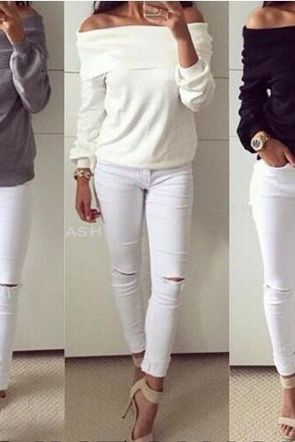 2016 Newest Women Casual Sexy Solid Pullover Long Sleeves Hollow Out Loose Sweater NZ70