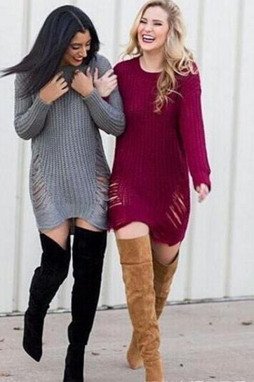 Knitted Crew Neck Long Sleeves Short Sweater Dress Featuring Distressing Detailing