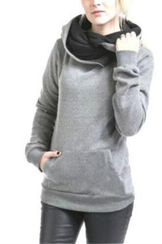 2016 Women's Long Sleeve Heaps Collar Hooded Hoodies Draw Cord Pure Color Pocket Sport Coat Sweater Shirts S-XXL NZ136