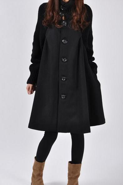 2016 Women's Fashion Coat Autumn Winter Korean Style Vogue Lady Cloak Woolen Wind Coats Female Elegant Long Cape Outerwear Loose Overcoat high collar fashion coat NZ174
