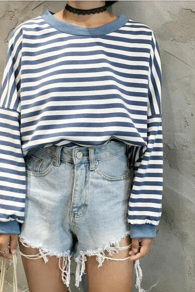 2017 New Fashion Women's Clothing Stripe Loose Batwing Short Sleeve Stripes T-shirt Original Style Coat Tops Blouse NZ275