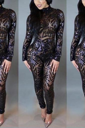 2017 Women Sexy Backless One-piece Pants High-necked Stylish One-piece Dress Long-sleeve Sequin Perspective Jumpsuit NZ315