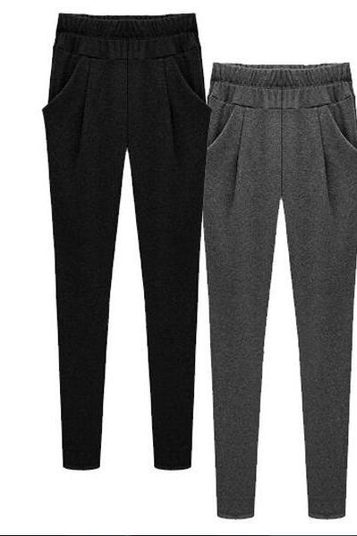 2017 Women's fashion elastic cotton pants black / gray leisure harem pants fashion female pants NZ472
