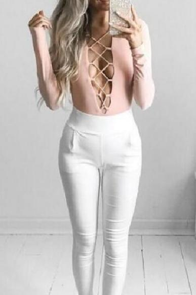 2017 Women Sexy Slim bandage long-sleeved leotard leotard fashion tether NZ477