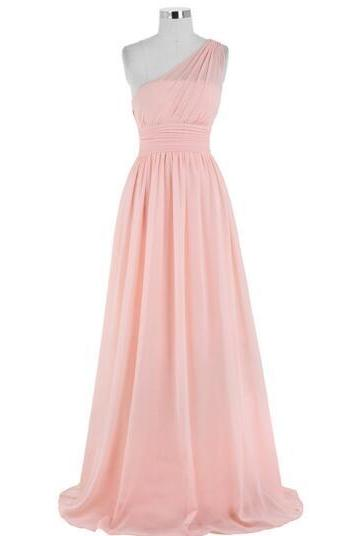 2017 new fashion bridesmaid dress one shoulder pink chiffon evening gown party dress A line fashion prom dress mopping the floor