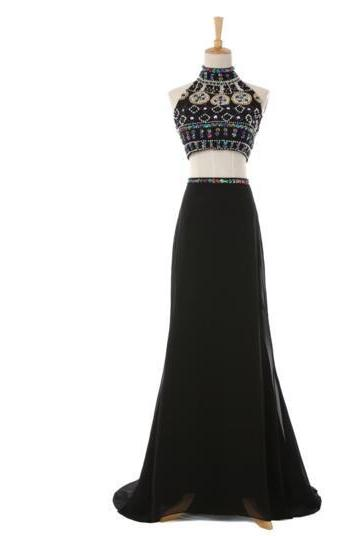 Beaded Embellished Two-Piece Formal Dress Featuring High Halter Crop Top and Floor Length Skirt, Prom Dress