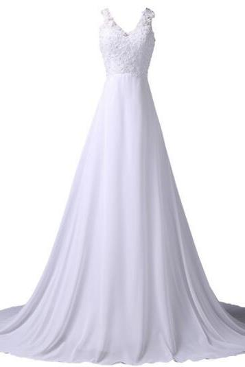 2017 White Wedding Dress Sleeveless V-Neck Chiffon Bridal Gown Beach Long Tail Wedding Dresses with Lace Appliques Real Photo fashion bridesmaid dress prom dresses