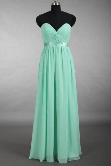 Custom Made Mint Green Sweetheart Neckline Floor Length Chiffon Bridesmaid Dress with Satin Sash, Prom Dress
