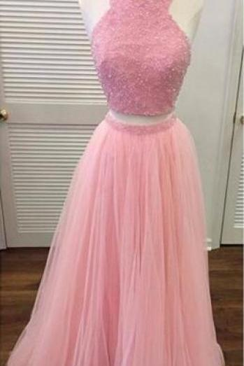 Custom Made Pink Halter Neck Two - Piece Tulle Bridesmaid Dress with Beading, Prom Dress